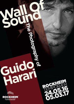Plakat for utstillingen 'Wall of Sound - The Photography of Guido Harari'